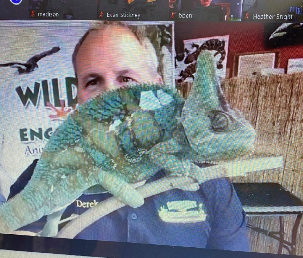 derek smalls headshot with iguana